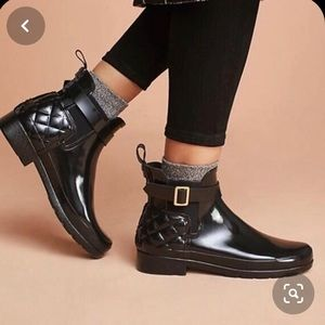 Hunter Chelsea quilted short black boots 10